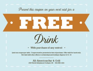 Free Lunch Coupon Template Free Drink Voucher Template  Zoro.blaszczak.co