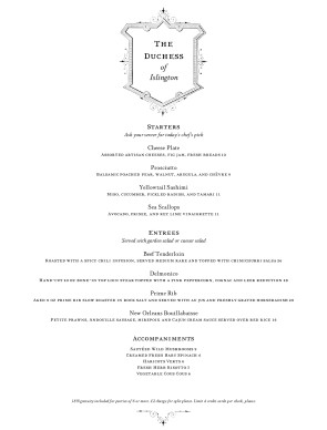 fine dining menu template free - customize british fine dining menu