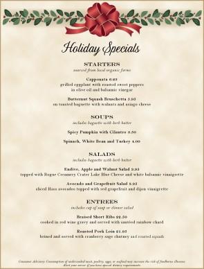 christmas dinner party menus