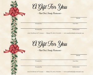 Holiday Gift Certificate 2up | Marketing Archive