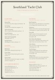 Yacht Club A4 Menu