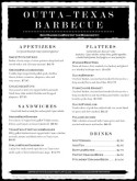 Menu for Barbeque Restaurant