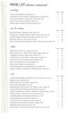 Color Fine Dining Wine List