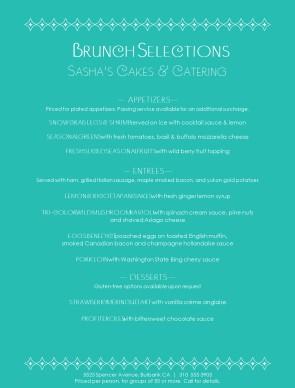 customize catered wedding brunch menu