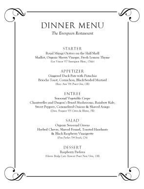 Tasting Menu Template | Party Menu