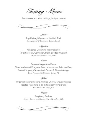 Wine pairings tasting menu party menu for Wine dinner menu template