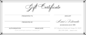 Fine Dining Gift Certificate | Marketing Archive