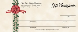 Holiday Gift Certificate   Marketing Archive