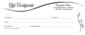 Dinner Gift Certificate | Marketing Archive