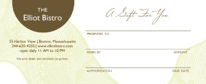 Hotel Restaurant Gift Certificate | Marketing Archive