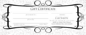 restaurant gift certificate design marketing archive. Black Bedroom Furniture Sets. Home Design Ideas