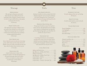 day spa trifold page spa menus