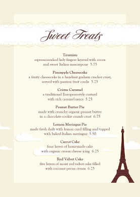 French Desserts Table Tent Menu Table Tent