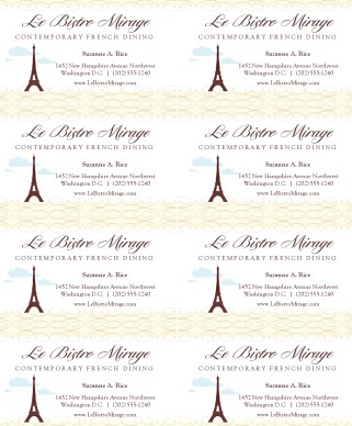 French Restaurant Business Cards Marketing Archive