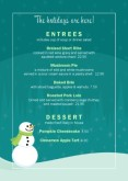 Holiday Table Tent Menu