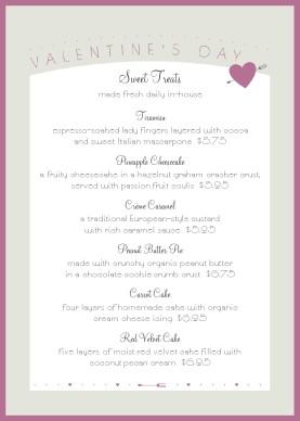 Valentines Event Table Tent Menu Valentine S Day Menus