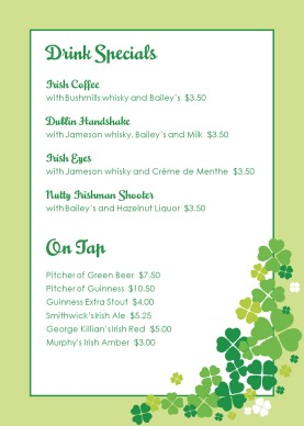 St patricks day table tent st patricks day menus for Irish menu templates