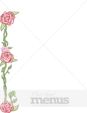 Pink roses with green vines side border archive mightylinksfo