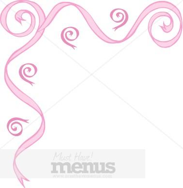 Pink Swirl Ribbon Corner Border Archive