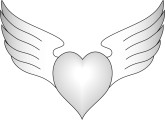 Balck and White Winged heart