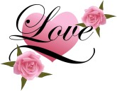 Love Elegant Script with Heart and Roses