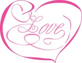 Magenta Love Ribbon Script in Heart