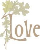 Love Typography with Oak Leaves