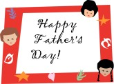 Father's Day Card with Children and Symbols