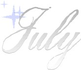 July Silver Script Typography with Stars