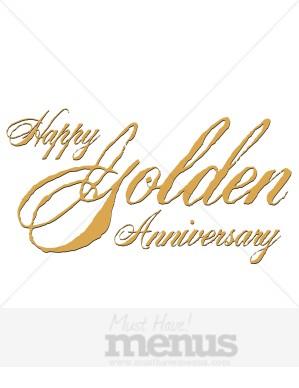 Rustic Happy Golden Anniversary Wedding Clipart