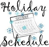 Holiday Schedule Curl Typography with Calendar and Snowflakes