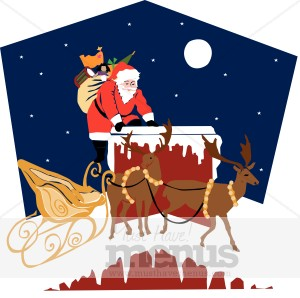 Rooftop Santa Clipart | Holiday Clipart Archive