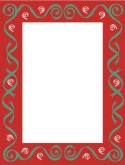Red Frame with Green Swirls