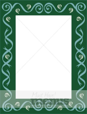 Green Frame with Swirls and Spirals