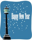 Happy New Year with Snowy Lamppost