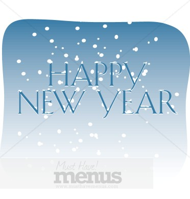 happy new year with falling snow holiday clipart archive