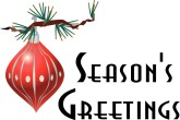 Season's Greetings with Ornament Menu Announcement