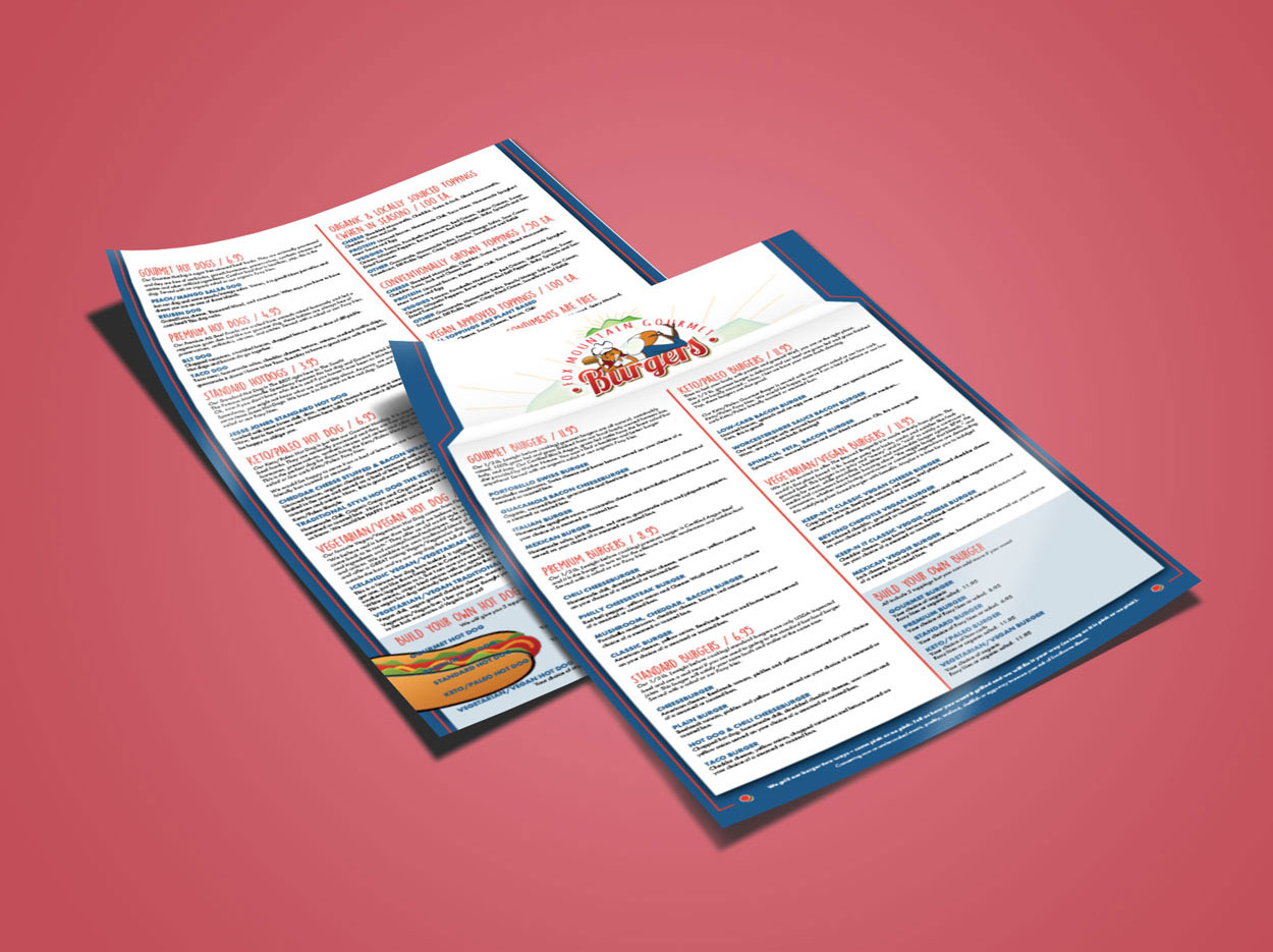 Graphic Design for dine-in, takeout and specialty menus