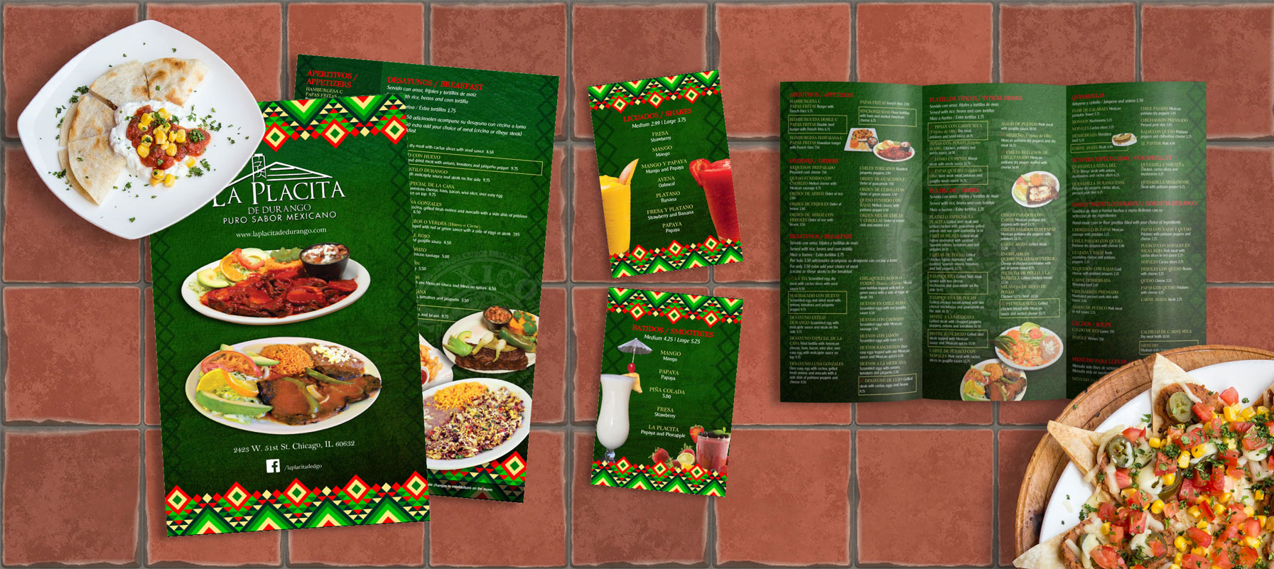 Graphic Design for Mexican food menus