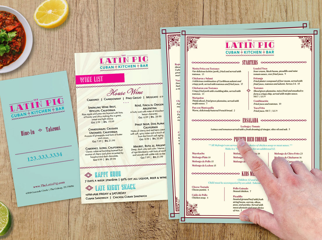 Graphic Design for dine-in and specialty menus