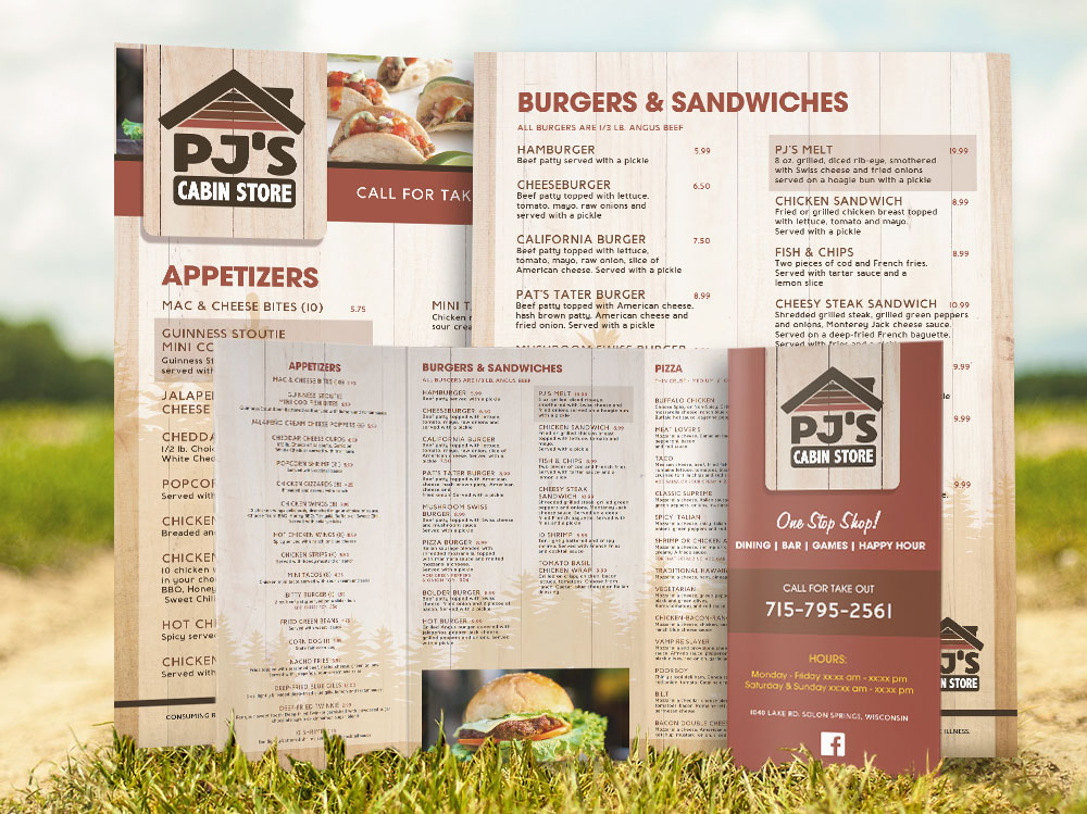 Graphic Design for dine-in, takeout burger menus