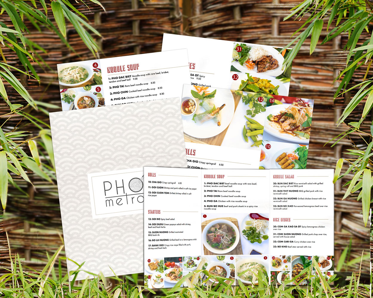 Graphic Design for dine-in and takeout Pho menus