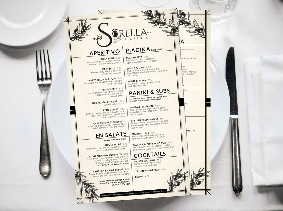 Graphic Design for fine dine-in and specialty menus