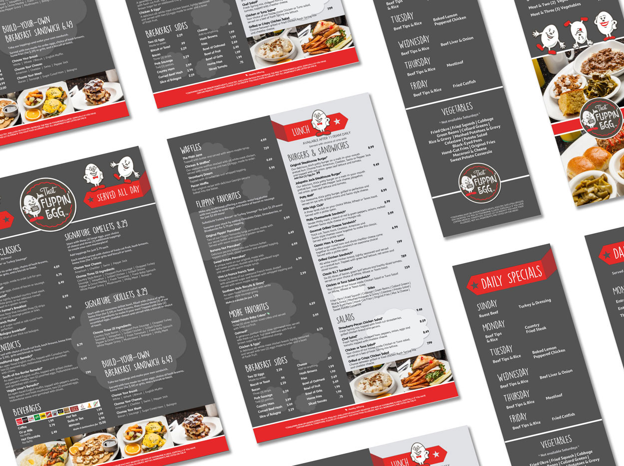 Graphic Design for dine-in and takeout breakfast menus