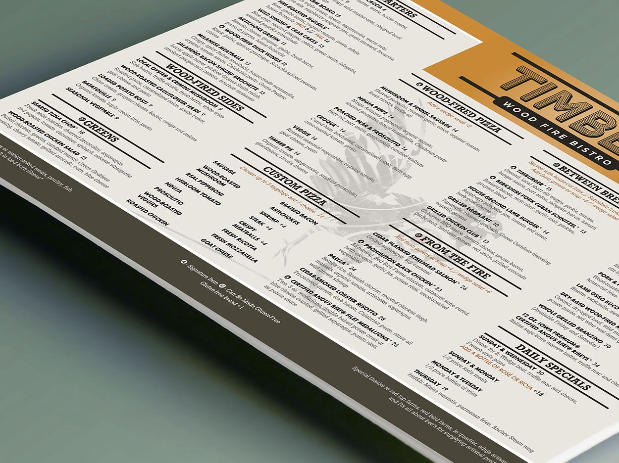 Graphic Design for dine-in and ala carte pizza menus
