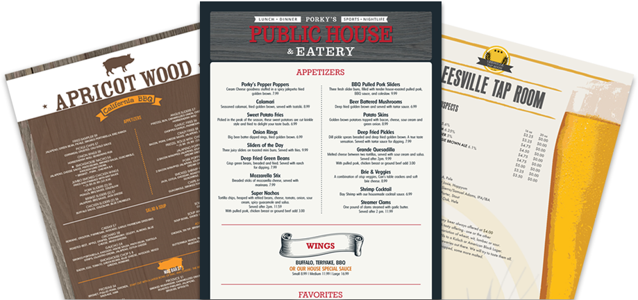 takeout menu templates