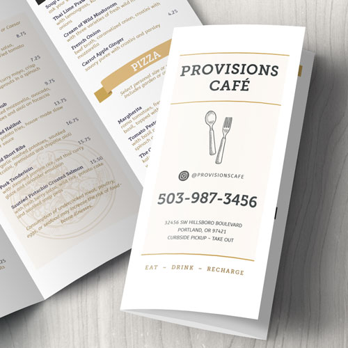 Cafe Provisions Takeout Menu