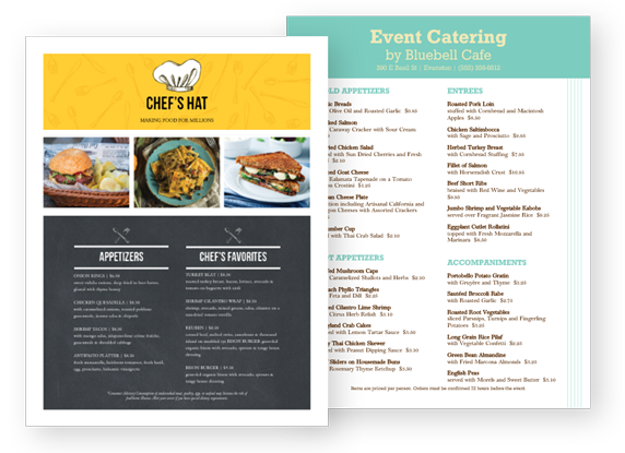 Design Catering Menus
