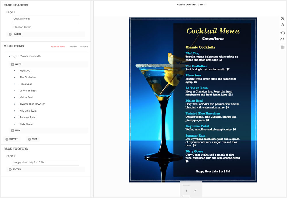 Create Cocktail Menus