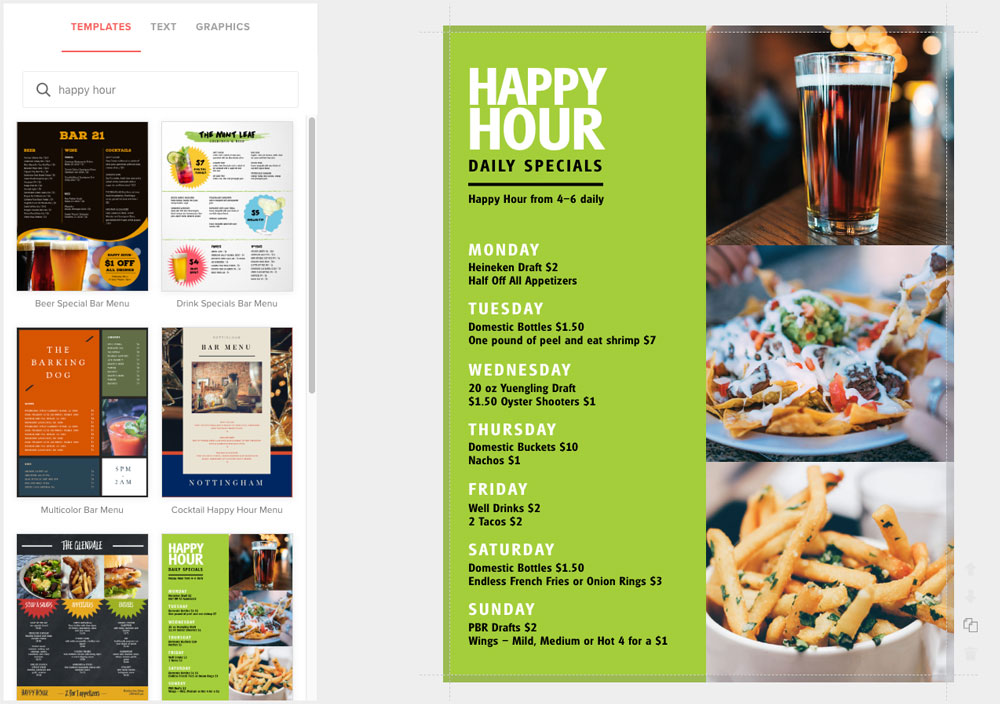 Create Happy Hour Menus